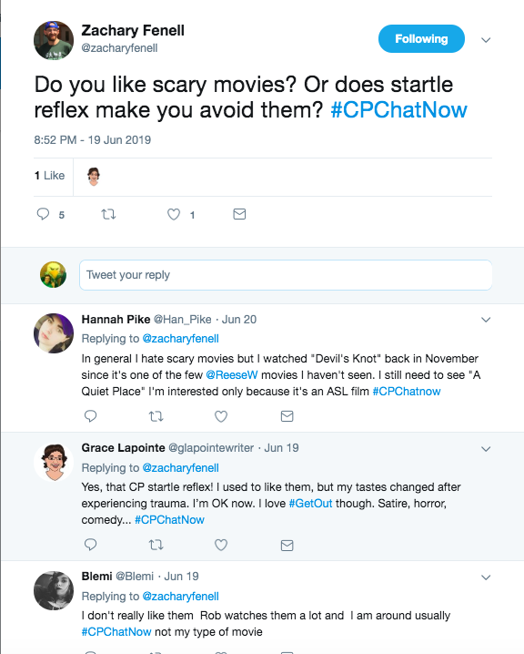 zach asked if startle reflex impacted horror movies. Hannah tweeted about liking Devil's knot and needing to watch a quiet place, grace lapointe said her startle reflex impacts her, but she loved get out. Blemi tweeted they are not her type of movie.