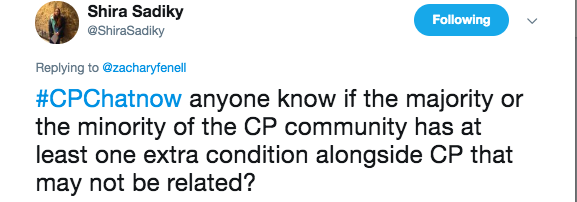 Shira asked if having CP made you more likely to have multiple disabilities: