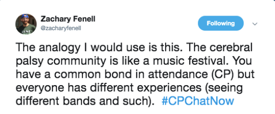zach says the CP community is like a music festival- there is a common bond in attendance (CP), but everyone has different experiences (seeing different bands)