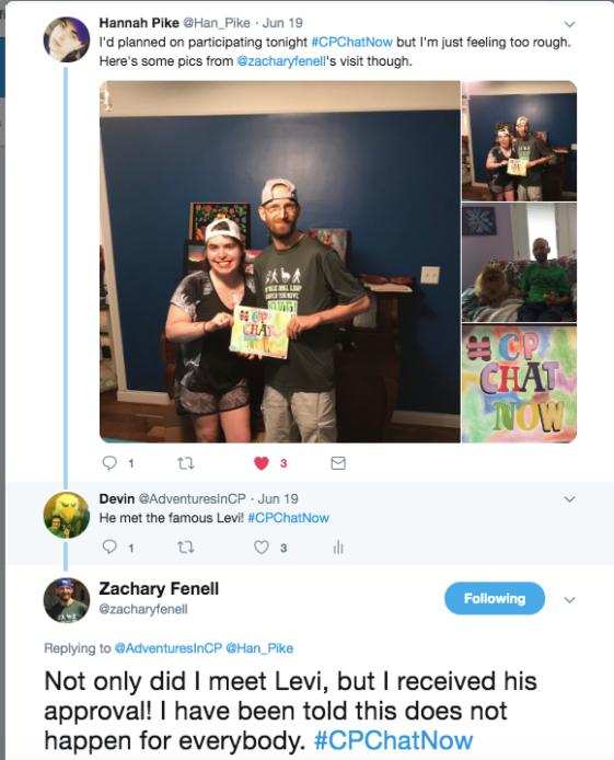 Pictures of zach and hannah. zach and hannah are holding a homemade #cpchatnow poster, zach is sitting with hannah's dog levi, and there is a picture of Hannah's #cpchatnow sign