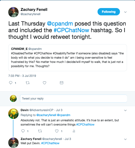 I responded to @cpandm's question. They felt frustrated since they can't will themselves to walk. I posted that the body doing what the mind wants it to do is unrealistic and that the will can't overcome things.
