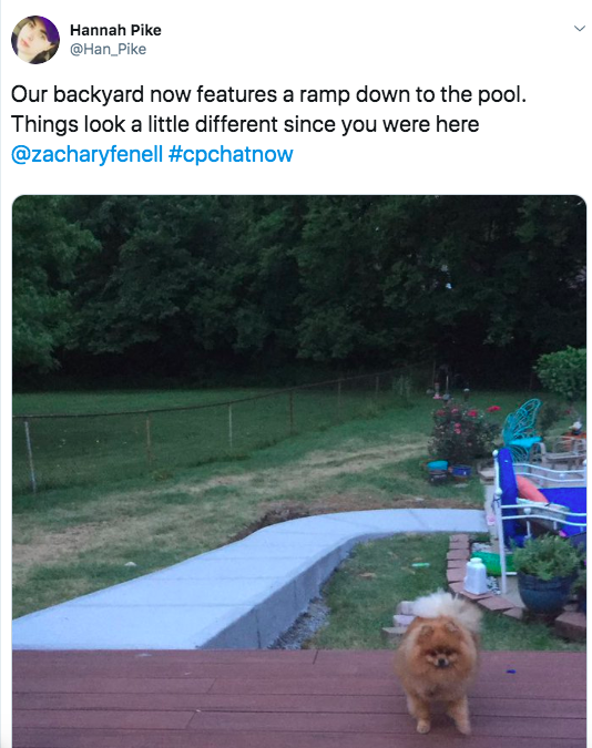 Hannah announces her backyard now contains a ramp to her pool. there is a picture of the ramp along with her dog.