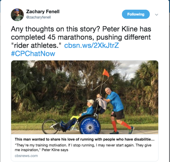 Zach posts about Peter Kline completing 45 marathons with different rider athletes