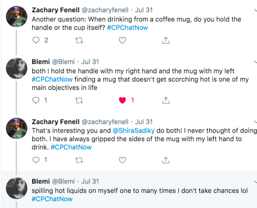 Zach asked if members held the coffee mug handle or cup.  Blemi and Shira responded they handle the both the handle and the mug. blemi said she doesn't take chances after spilling hot liquids