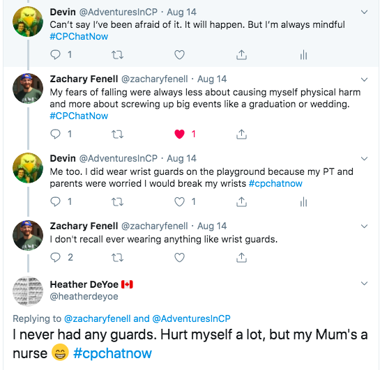 Devin tweets he's not afraid, but mindful, zach tweets his fears are screwing up big events, I tweet that I wore wrist guards on the playground. Heather tweeted she did not, but her mom is a nurse.