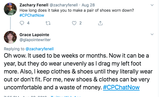 Grace tweets her shoes can wear down in weeks or month, but it can be a year. She tweets her left shoe can wear out faster.