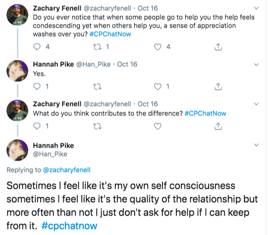 Hannah also tweeted agreement with help sometimes feeling condescending while sometimes she has a sense of appreciation.  She tweeted sometimes it relates to the quality of the relationship and sometimes it's her self consciousness.