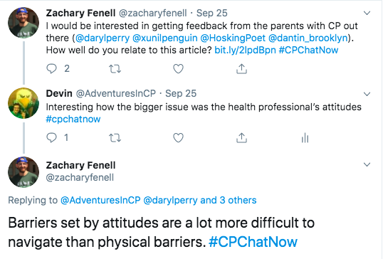 I tweeted about the attitudinal barriers from the healthcare professionals. Zach points out that barriers form attitudes are a lot more difficult to navigate than physical barriers
