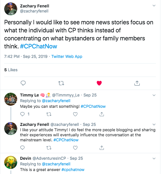 zach tweets he wishes news stories focus more on individuals with CP rather than bystanders