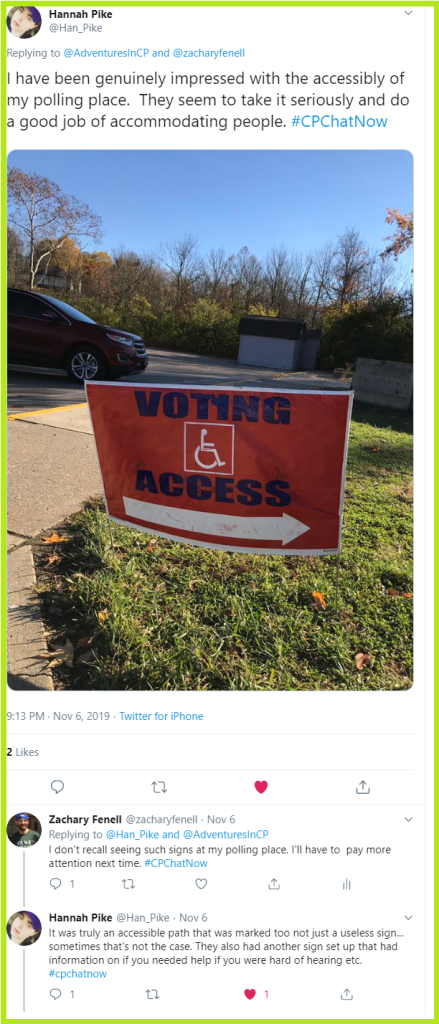 Hannah was genuinely impressed with her polling place's accessibility.