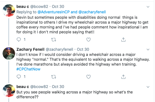 Beau C tweets he does not mind people saying him driving his wheelchair across a major highway is inspiring