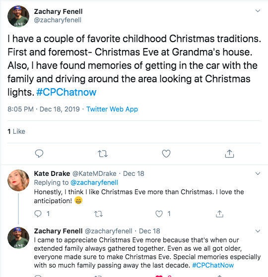 zach asked about christmas traditions. he tweeted about christmas eve at grandma's and getting in the car to look at christmas lights. kate tweets about liking christmas eve more than christmas. zach tweeted christmas eve is when his extended family got together