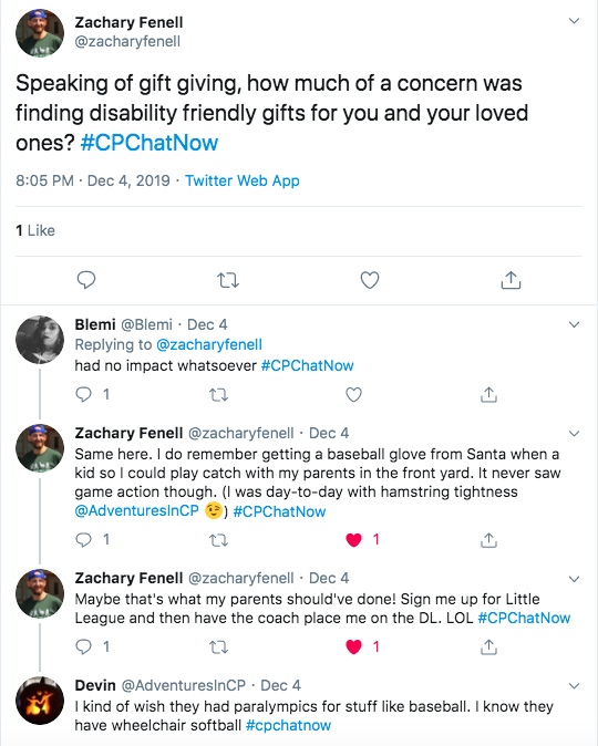 Blemi tweeted disability had no impact on her gift giving. Zach said he got a baseball glove, but never did play baseball. I tweeted I was there was paralympics for baseball.