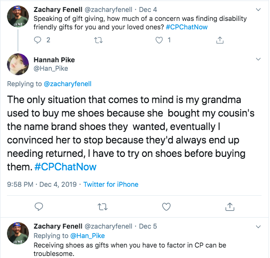 Zach asks whether disability was taking into account when giving gifts. Hannah tweeted her grandma bought her shoes that often wouldn't fit and she had to tell her to stop because they wouldn't fit