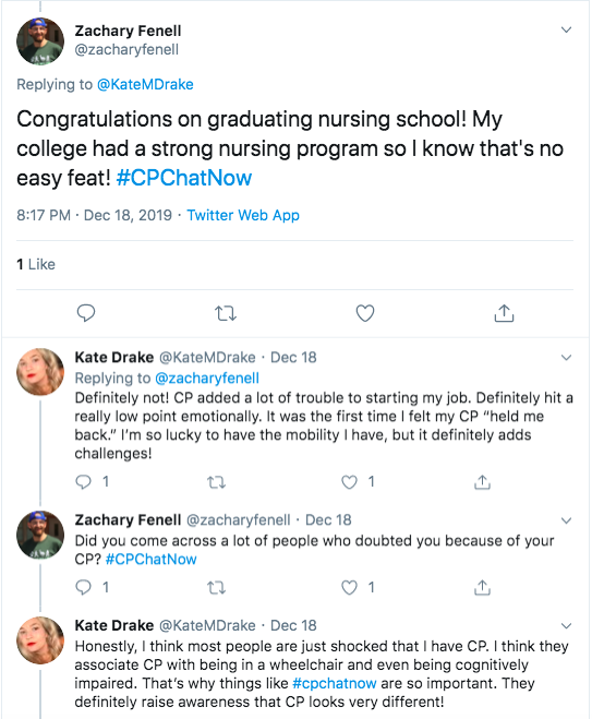 Zach congratulates kate on graduating nursing school. kate shared cp added trouble to starting her job.