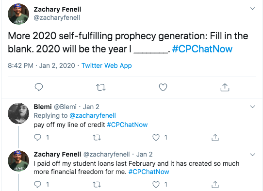 Zach asks what members hope to accomplish in 2020. Blemi tweets about paying off her line of credit. Zach tweets about paying off his student loans.