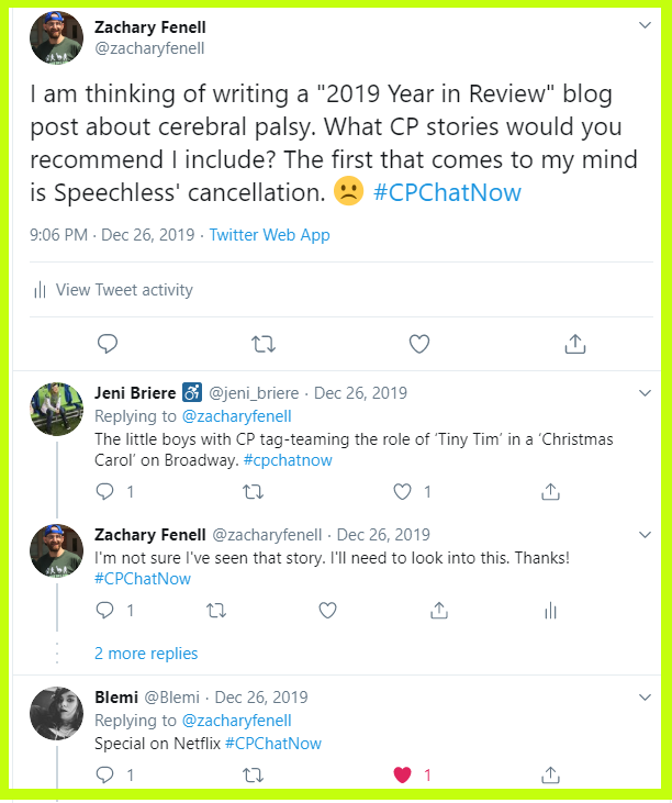 The #CPChatNow community recalls their most memorable cerebral palsy related stories of 2019.