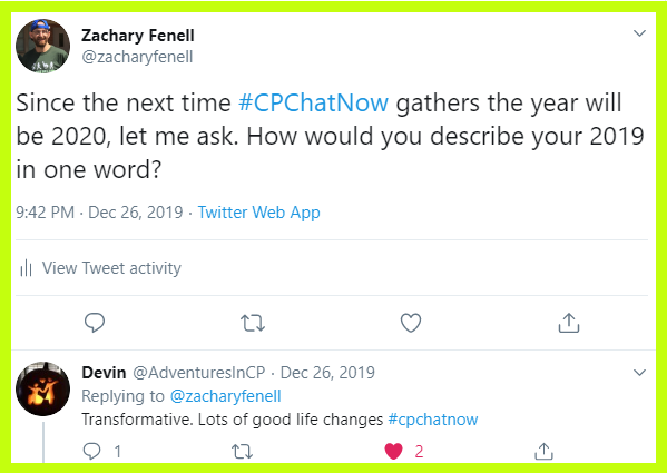 Participants in #CPChatNow describe their 2019s in one word.