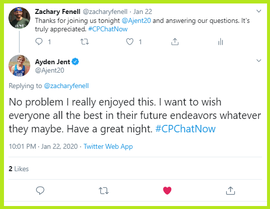 Ayden enjoyed answering #CPChatNow's questions.