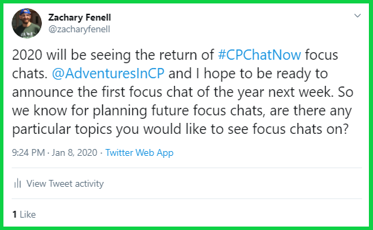 Zachary teases the return of focus chats.