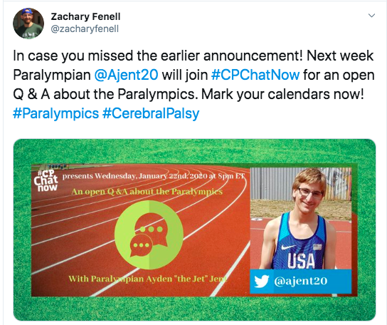 Zach announces a focus chat on 1/22 with Ayden Jent about the Paralympics