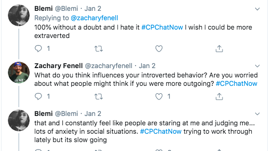 Blemi tweets she feels she is an introvert and experiences anxiety in social situations