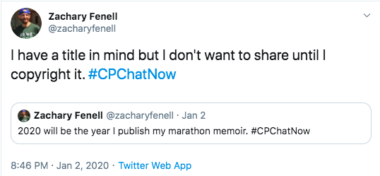 Zach tweets he will be publishing his marathon memoir and he has a title in mind
