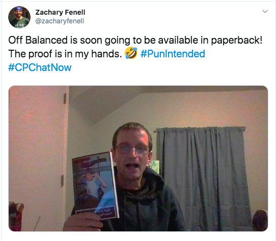 Zach announcing Off Balanced is soon to be available in paperback. There is a picture of him holding up the book