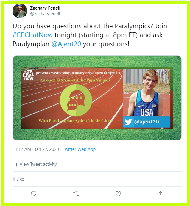 2016 Paralympian Ayden Jent joined #CPChatNow Wednesday, January 15th, 2020 to answer our questions about the Paralympics.