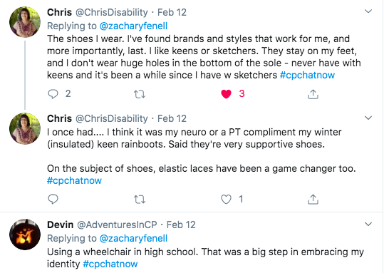 chris tweets she pays close attention to the shoes she wears with brands like keens and sketchers. they don't wear holes in sole. she also has keen rainboots and uses elastic laces. i tweet about using a wheelchair in high school.