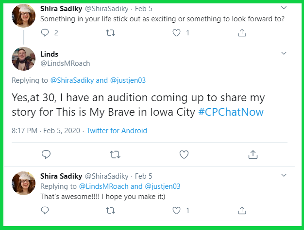 Linds shares she has an upcoming audition for This is My Brave.