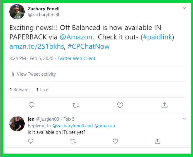 Zachary announces his CP memoir Off Balanced is now available in paperback form.