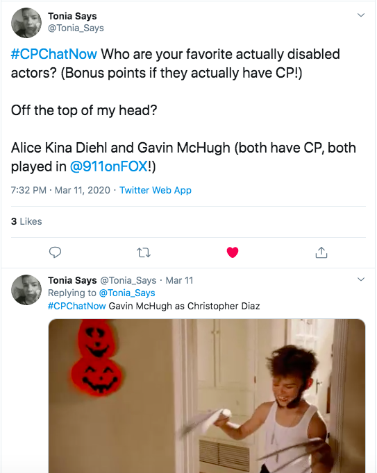 toni says asked about favorite disabled actors. she tweeted alice kina diehl and gavin mchugh