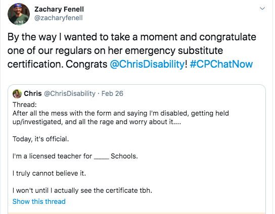zach congratulates chris on obtaining her teacher's certificate