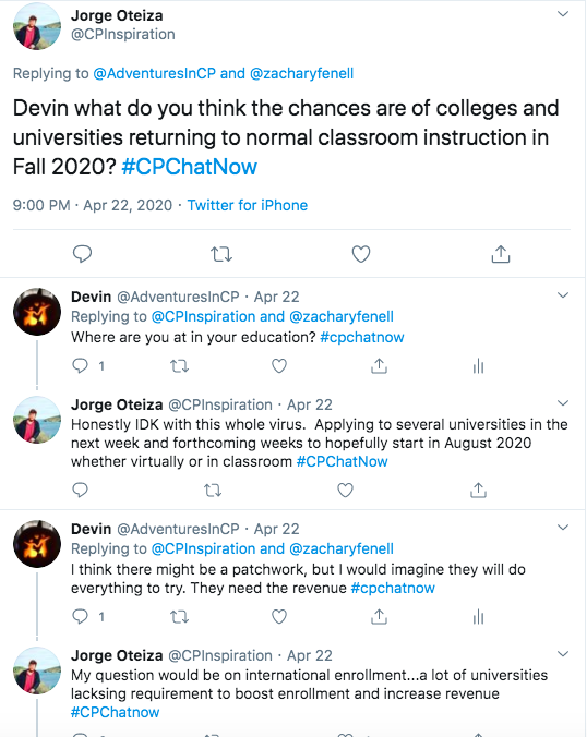 Jorge asks if I think colleges will open up in the Fall. I tweeted I felt it will be a patchwork of plans, but they would try. Jorge brings up the issue of international enrollment. jorge tweets he is applying to several schools.