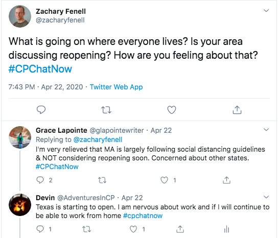Zach asks where each member's area is on reopening. Grace tweets she is relieved Massachusetts is following guidelines and not considering reopening. I tweeted I am nervous that Texas is starting to open. I am nervous about going back to work and am nervous if I will continue to be able to work from home.