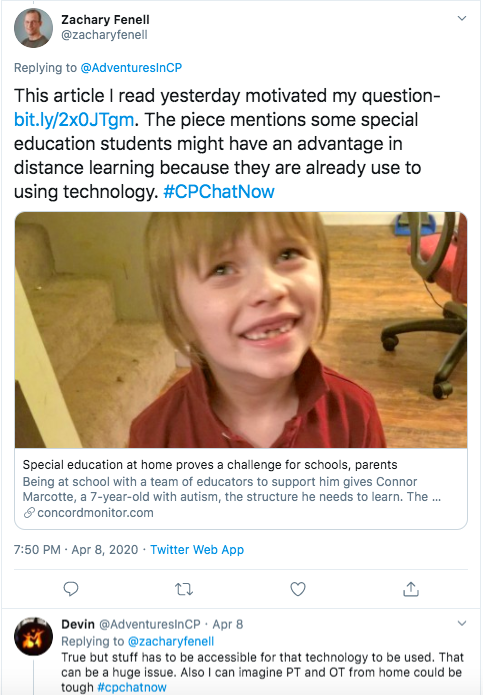 zach posts an article about virtual special education and mentions sped students may have advantages with distance learning since they are used to technology. i mentioned stuff has to be accessible for the technology to be used. i also mentioned difficulty of physical and occupational therapy