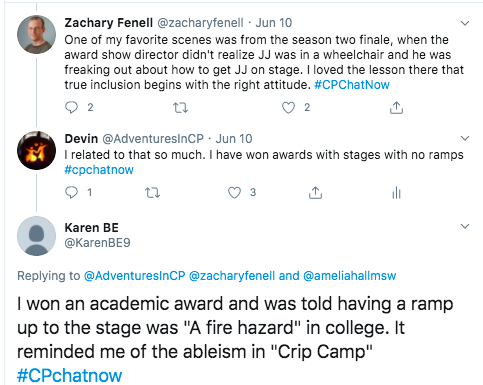 zach tweets about a favorite scene from the season 2 finale when an award show director discovered there was not a ramp. i tweeted about accepting an award in the same situation. karen tweets she won an award in college and was told a ramp would be a fire hazard.