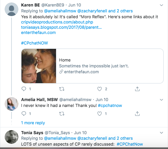 karen tweets some links explaining the moro reflex. amelia tweeted she did not know it had a name. tonia tweeted lots of aspects of cp are rarely discussed