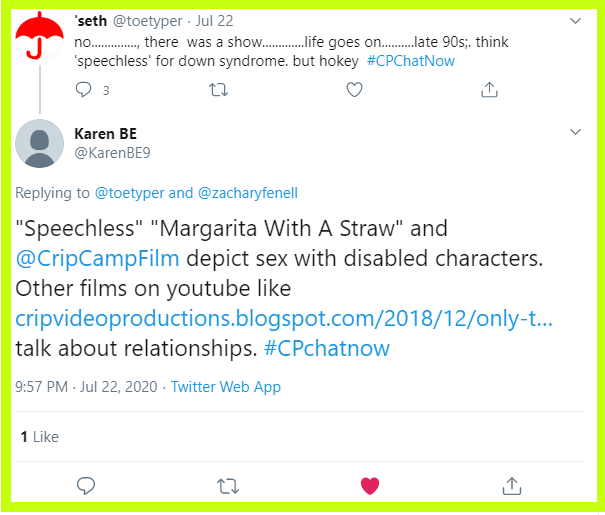 Karen recommends TV shows and movies which depict sex with disabled characters.