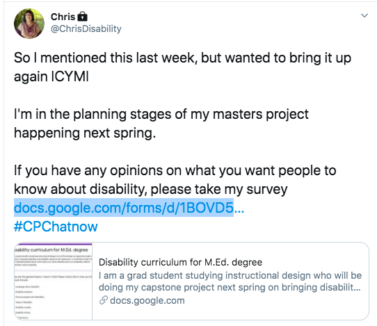chris developed a survey for her masters project about what students should know about disability