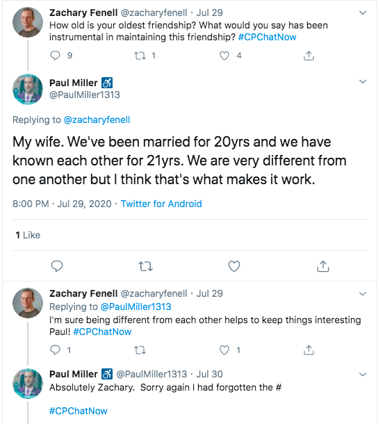 paul tweeted his longest friendship is his wife of 20 years who he has known for 21 years. he tweeted the key is they are different from each other, but that makes it work.