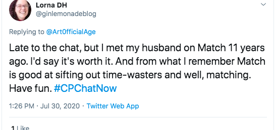 lorna tweeted she met her husband on match 11 years ago and that it is a good site for sifting out time wasters and matching.