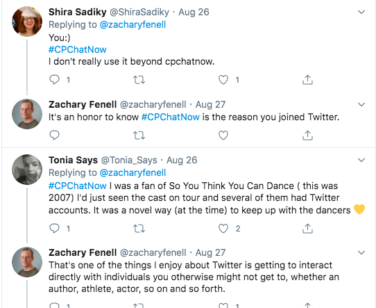 shira tweeted she joined twitter because of #cpchatnow. tonia joined because of the dancers from so you think you can dance having accounts and she wanted to keep up with them