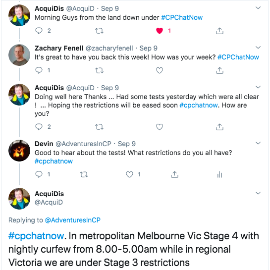 acquidis detailed covid restrictions from australia. she tweeted in melbourne there is an 8-5 nightly curfew