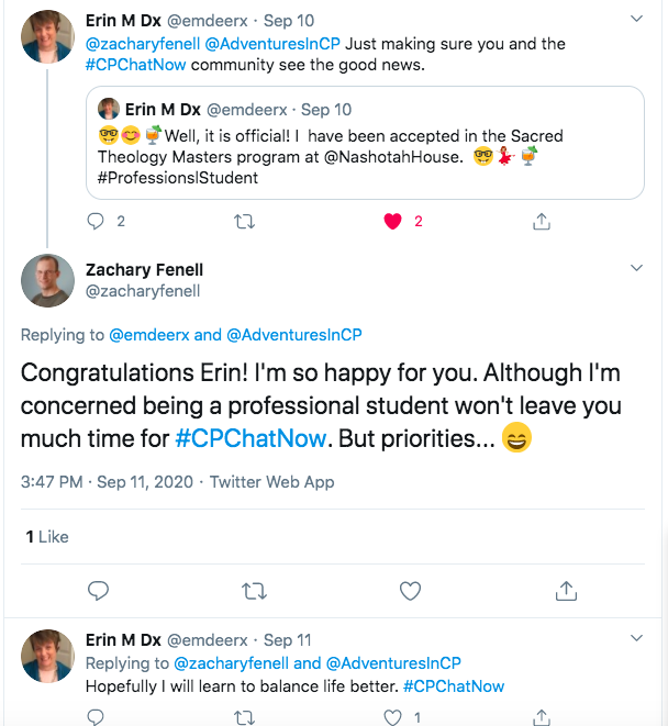 erin tweets that she was accepted to the sacred theology master's program she applied to. zach wishes her congratulations and asks her to make time for #cpchatnow