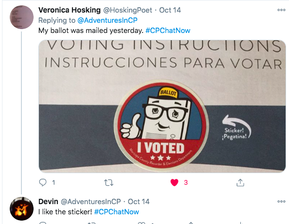 veronica shared a picture of her mail in ballot, there is an image that says VOTING INSTRUCTIONS, INSTRUCCIONES PARA VOTAR with a sticker of a ballot with glasses, a yellow and black BALLOT hat and I VOTED below the ballot
