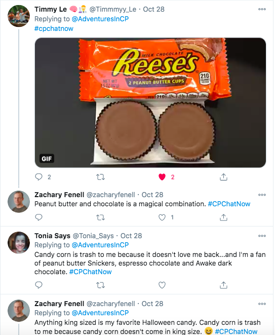 timmy tweeted a picture of reese's peanut butter cups, zach tweeted peanut butter and chocolate is magical, tonia says tweeted candy corn does not love her back and she likes peanut butter snickers, esperesso chocolate, and awake dark chocolate, zach tweeted he likes anything king sized and candy corn is trash because it doesn't come in king sized