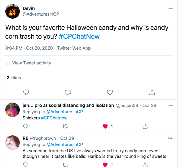 i asked what member's favorite halloween candy is. i also shared why i thought candy corn is trash. jen tweeted snickers is her favorite candy, rb tweeted she has always wanted to try candy corn, but she has heard it tastes like balls. she tweeted she prefers hairbo