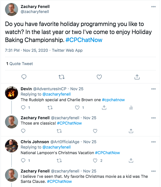 zach asks if there is favorite holiday programming people like to watch. zach tweets he enjoys the holiday baking championship, devin tweets he watches the rudolph and charlie brown specials, chris tweets he watches national lampoon's christmas vacation, zach tweets he likes the santa clause